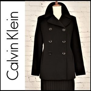 CALVIN KLEIN Wool-Cashmere Double Breasted Peacoat